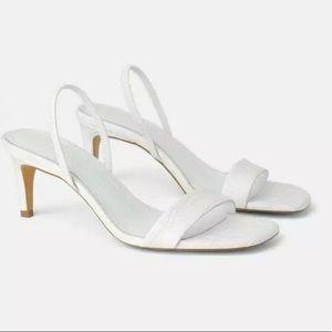 ZARA square toe animal embossed leather sandals